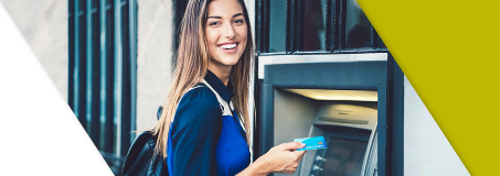 A Lead Bank client using her ATM debit card at a Money Pass ATM machine