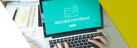 A person using a secure website to make a payment