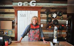 Pam Wheeler of Genevieves in her shop